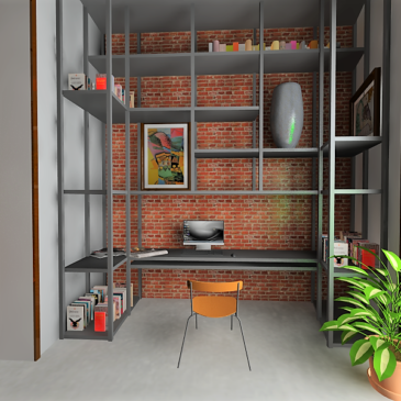 Indusztriális jellegű lakás – előszoba, dolgozó rész és mosdók